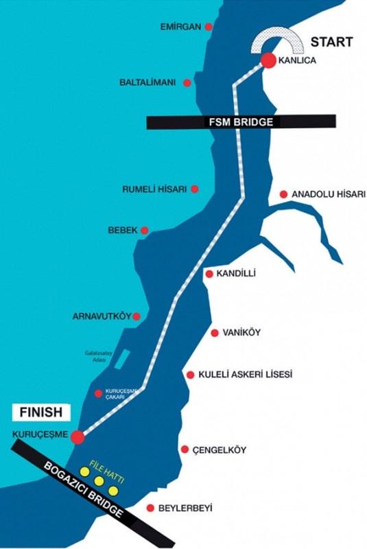 карта заплыва через Босфор
